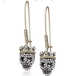 Betsey Johnson Crystal Skull Drop Earrings